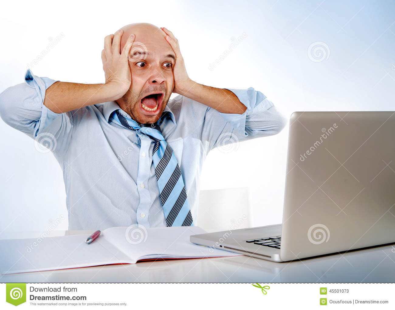 Frustrated office worker on the phone holding stock photo image - Hispanic Overworked Frustrated Businessman On Tie Screaming In Stress At Computer Laptop Stock Photos