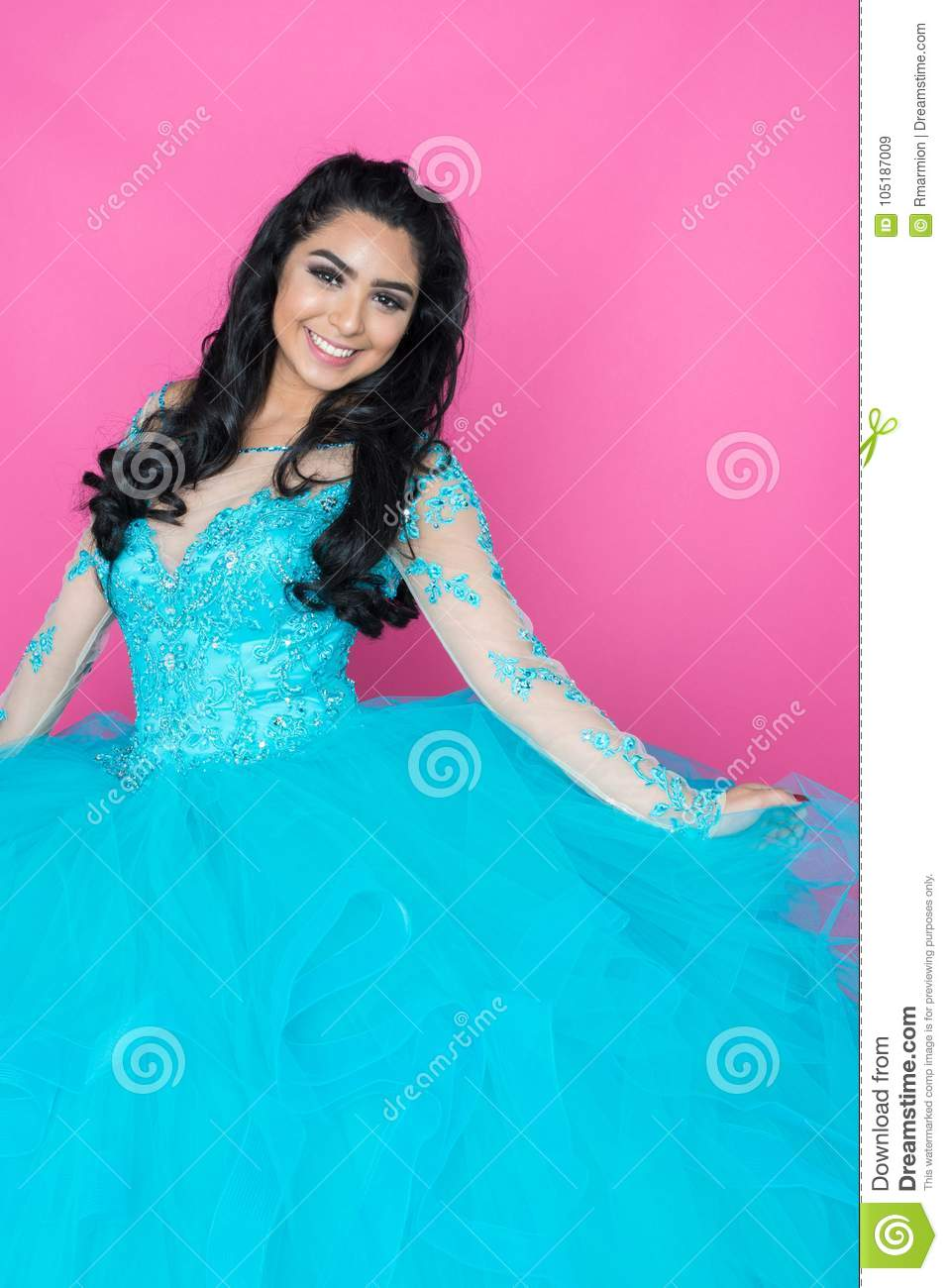 Teen In Prom Dress stock image. Image of quinceanera - 105187009