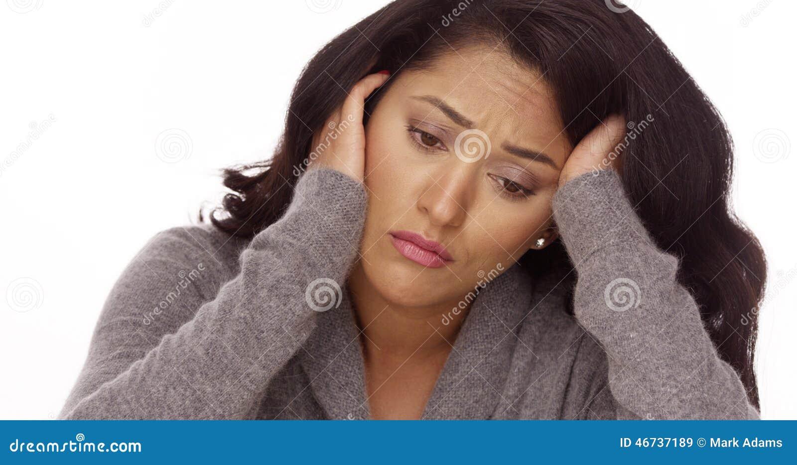 Hispanic woman with anxiety