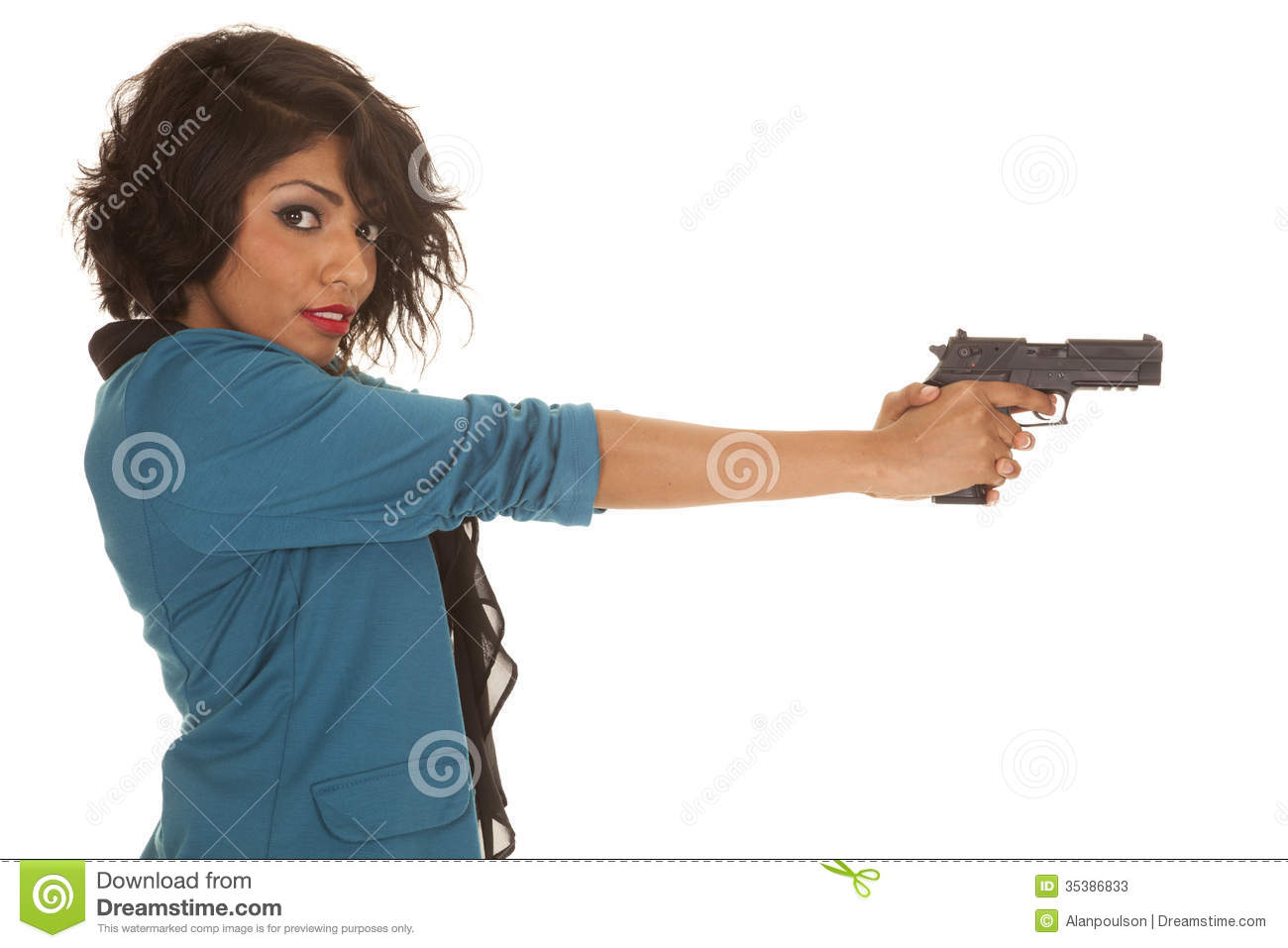 Hispanic Woman Gun Side Look Stock Photos - Image: 35386833