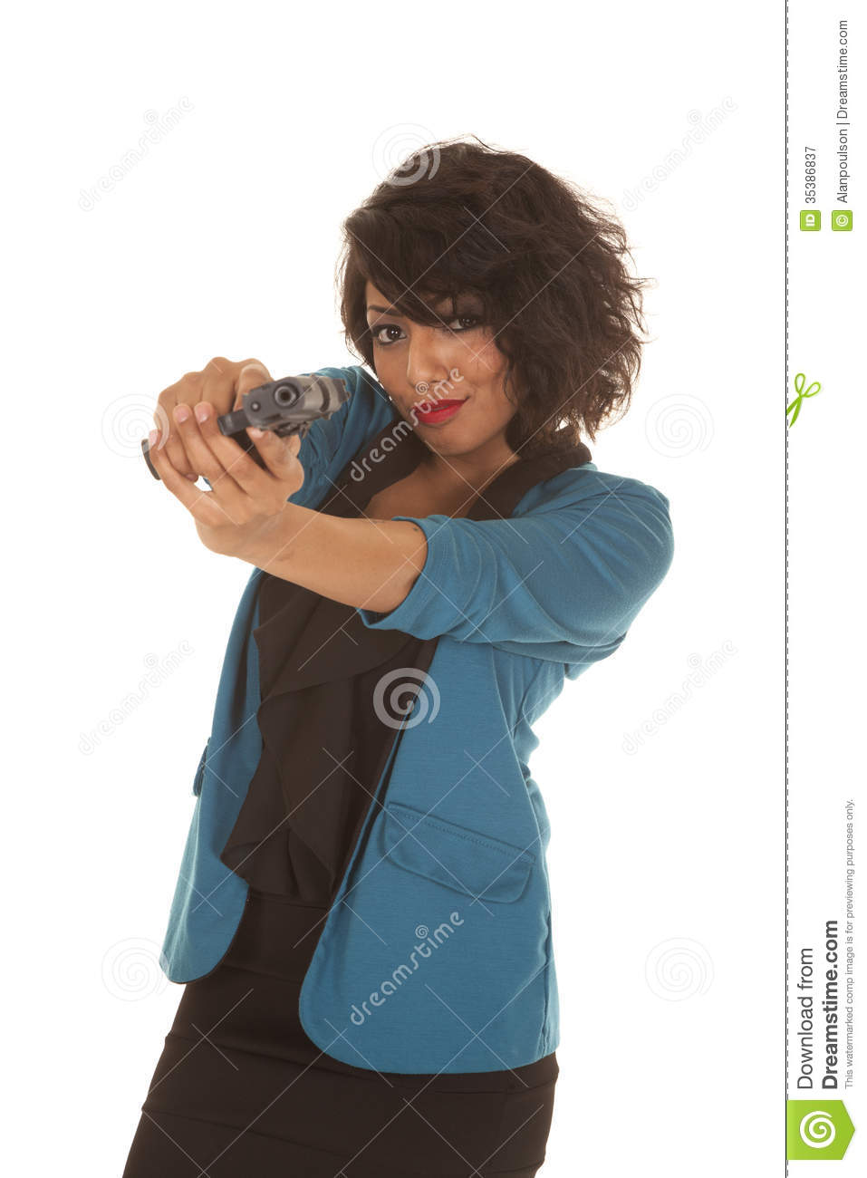 dc7185242 A Hispanic woman pointing her gun at the camera, showing some attitude.