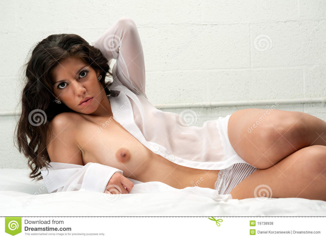 Hispanic Woman Laying In Bed Naked Royalty Free Stock -5052
