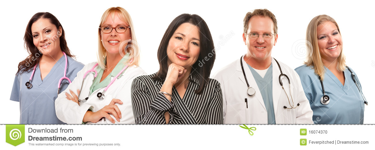 Hispanic Woman with Male and Female Doctors