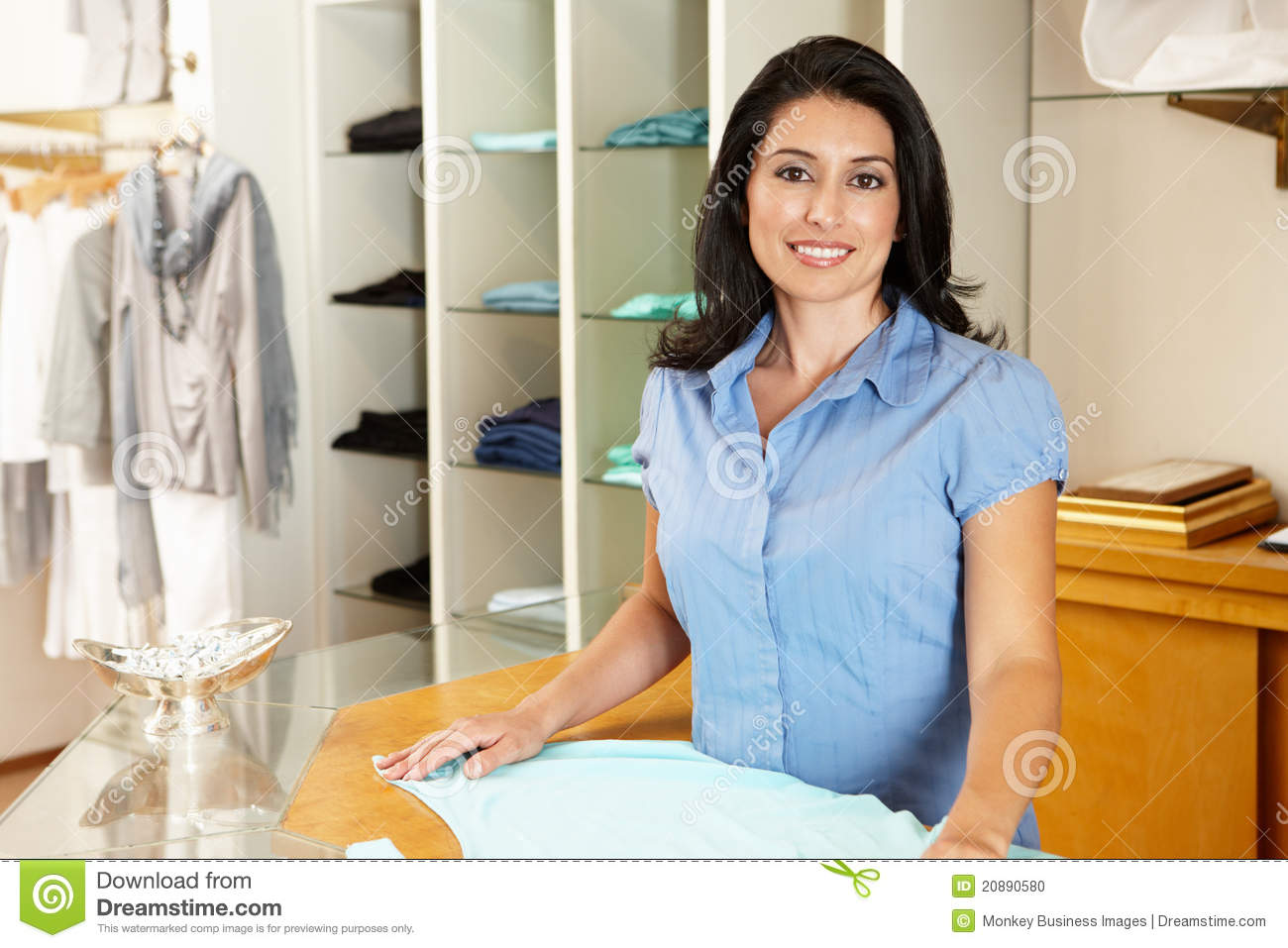 Working at a clothing store