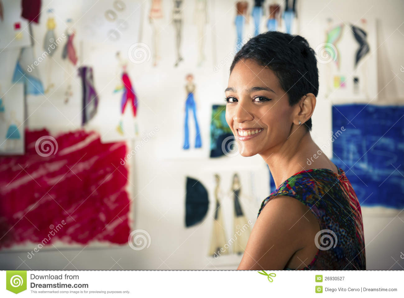 Hispanic Young Woman Working As Fashion Designer Royalty ...