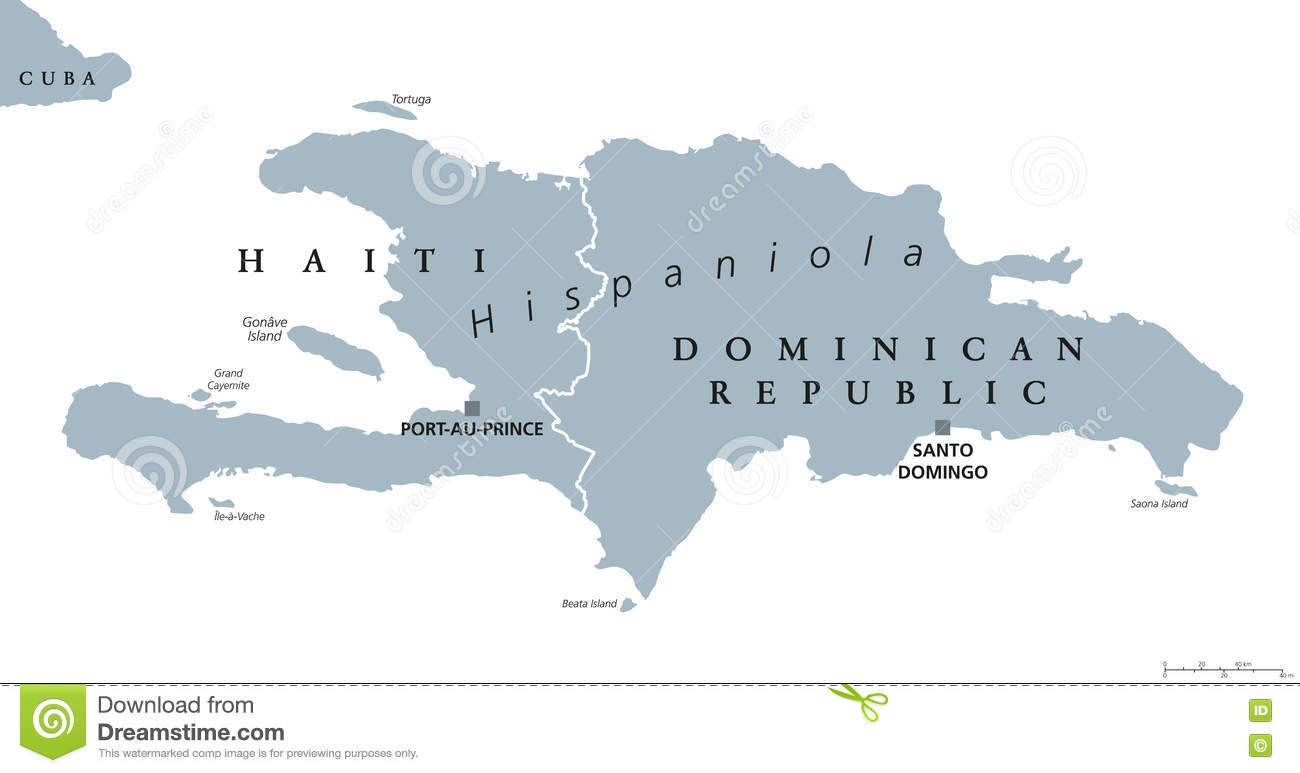 Dominican Republic And Haiti Map Stock Vector Illustration of