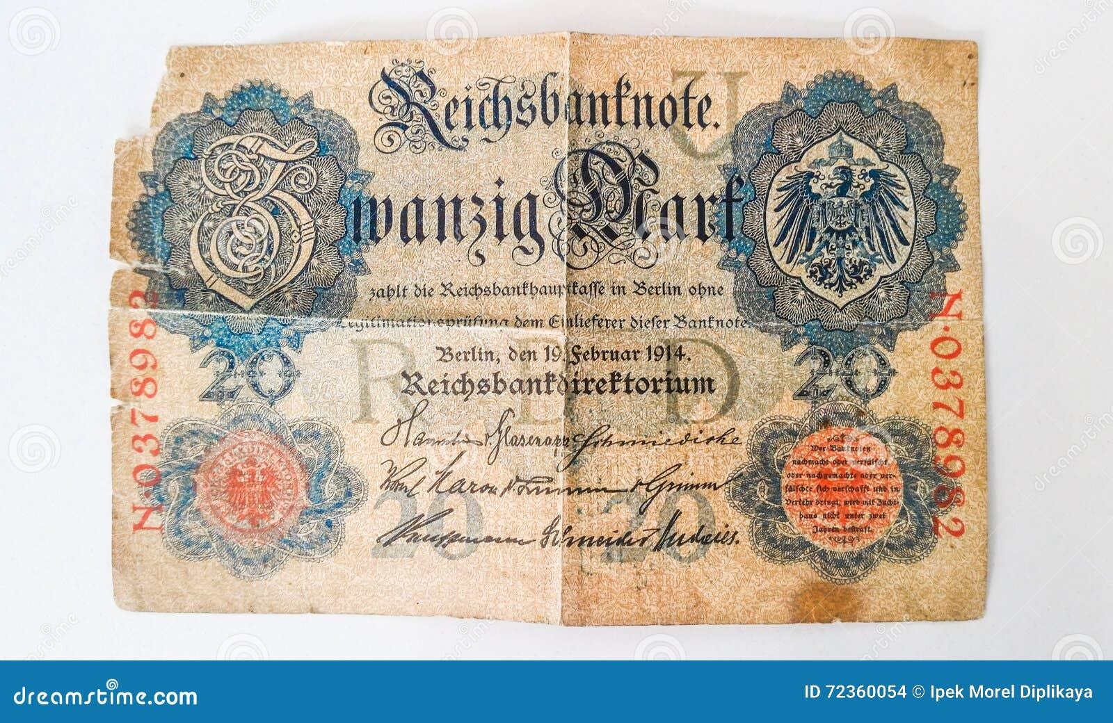 Histoire de la marque allemande 1914 de Zwanzig de billet de banque - WW1