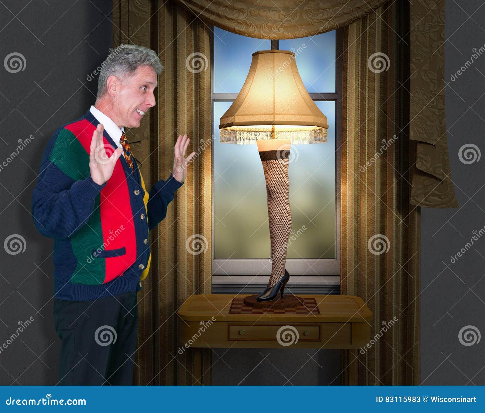 Historia divertida de la Navidad de la lámpara de la pierna