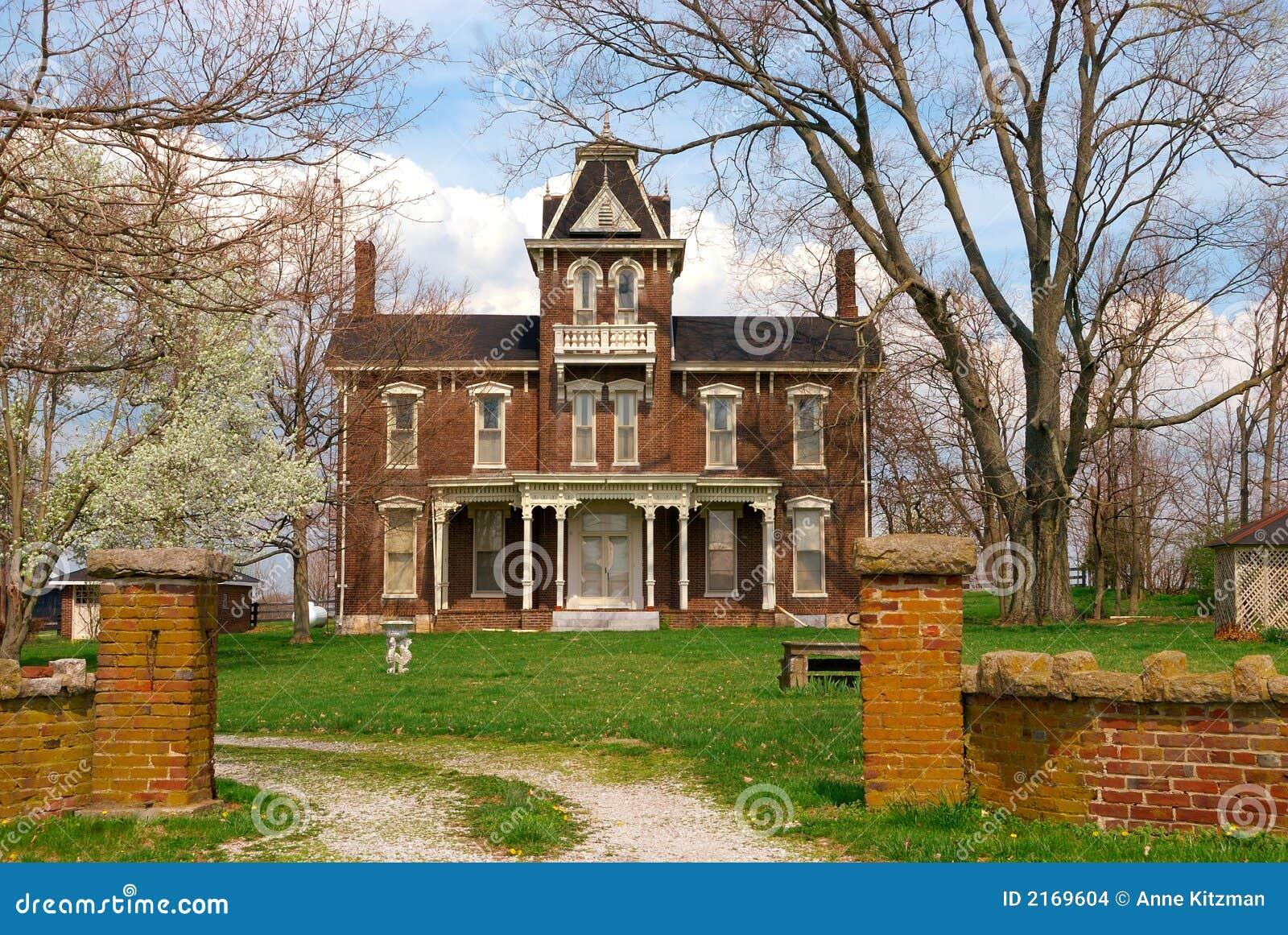 Historic 1800s Brick Home Stock Image