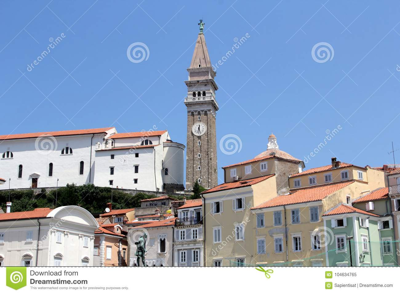 Historic architecture of Piran, Slovenia.