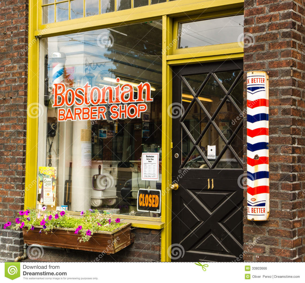 Historic Barbershop, Queen Anne Seattle Editorial Photo