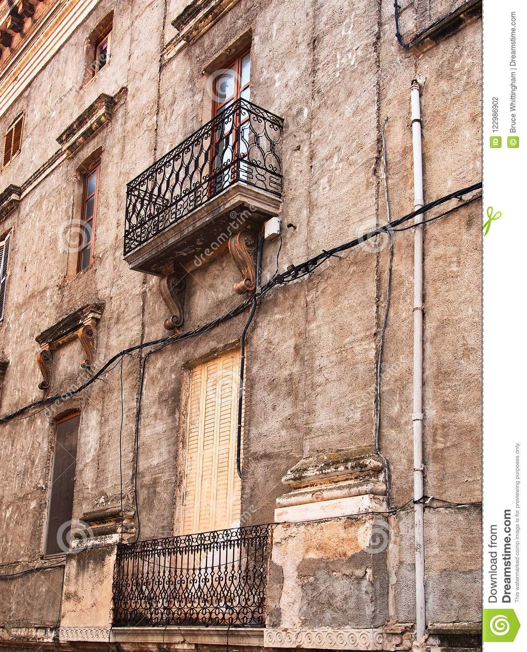 Old Brick Apartment Building: Historic Brick And Stone Apartment Building, Figueres