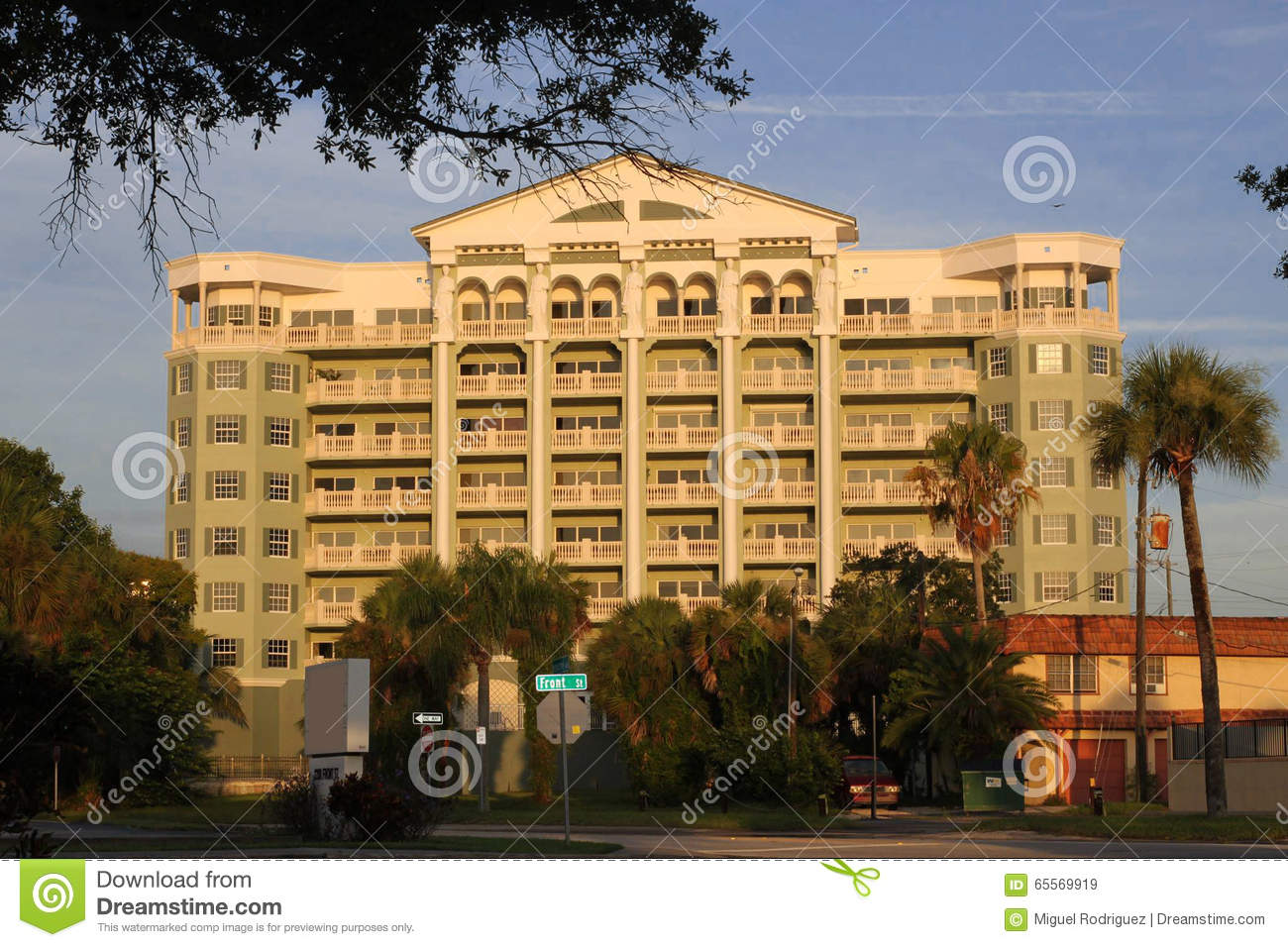 historic building in front street melbourne florida stock image