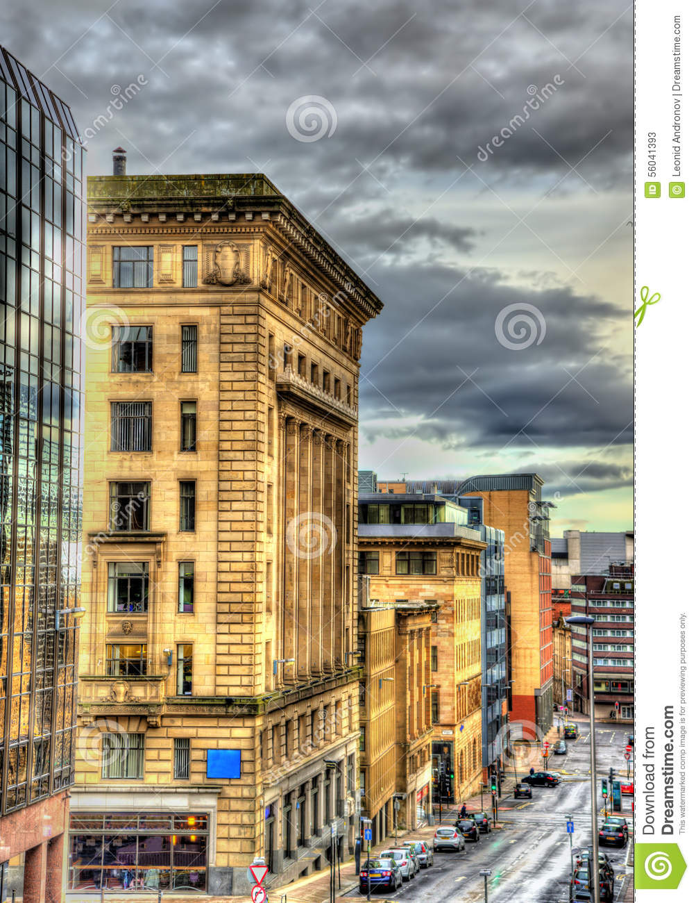 historic buildings in the centre of glasgow stock image image 56041393. Black Bedroom Furniture Sets. Home Design Ideas