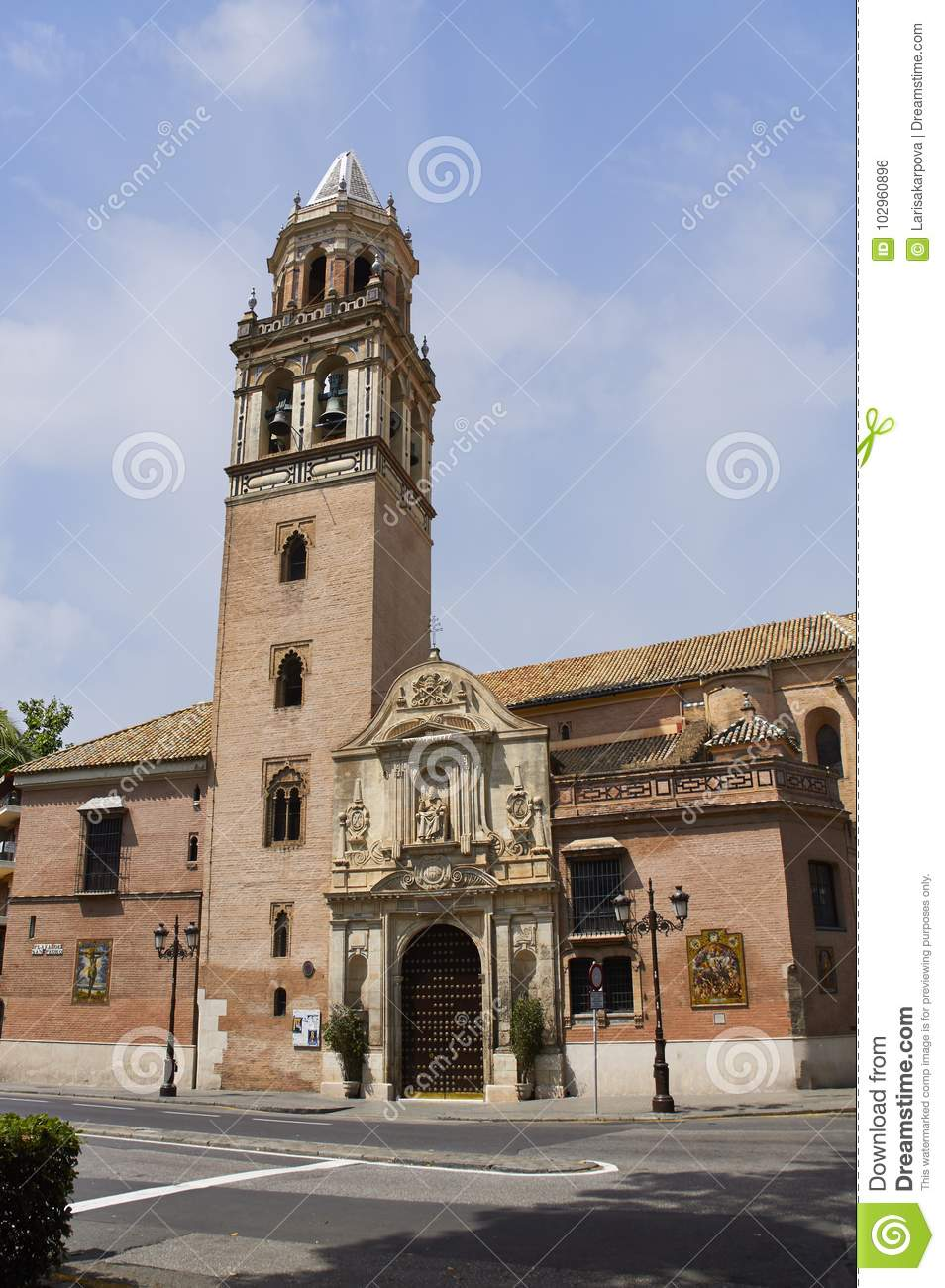 Historic buildings and monuments of Seville, Spain. Spanish architectural styles of Gothic. Santa Catalina