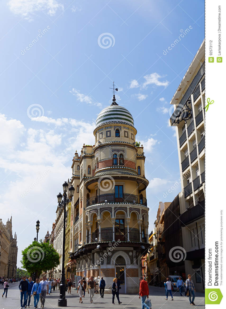 Historic buildings and monuments of Seville, Spain. Spanish architectural styles of Gothic and Mudejar, Baroque