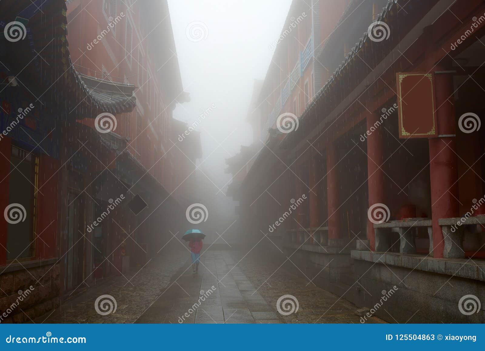 Historic buildings of Mount Tai in rain, Shandong, China
