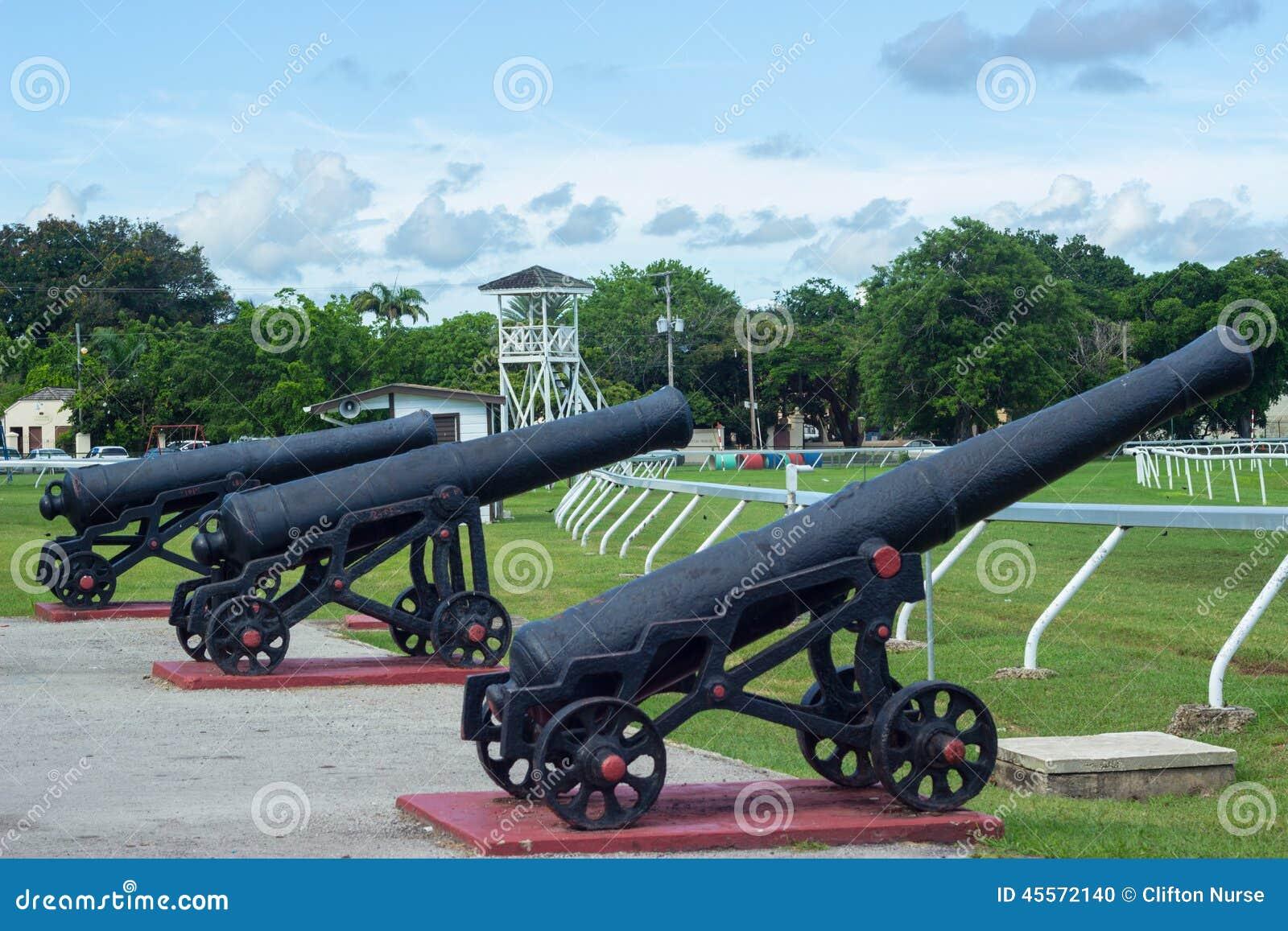 Historic Canon at the Garrison Savannah in Barbados