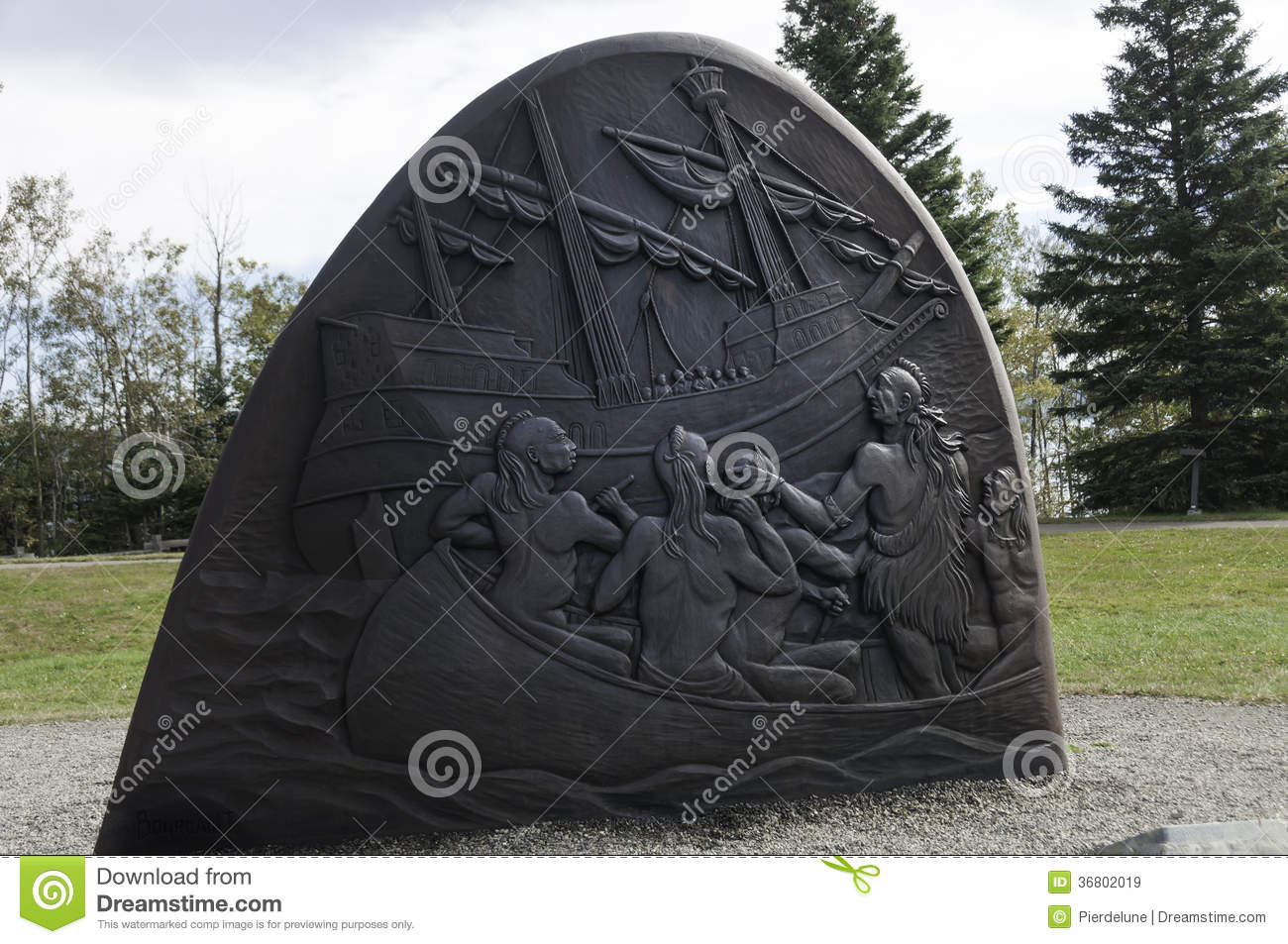 Historic Cast Iron Sculptures Of Gaspe Stock Image - Image