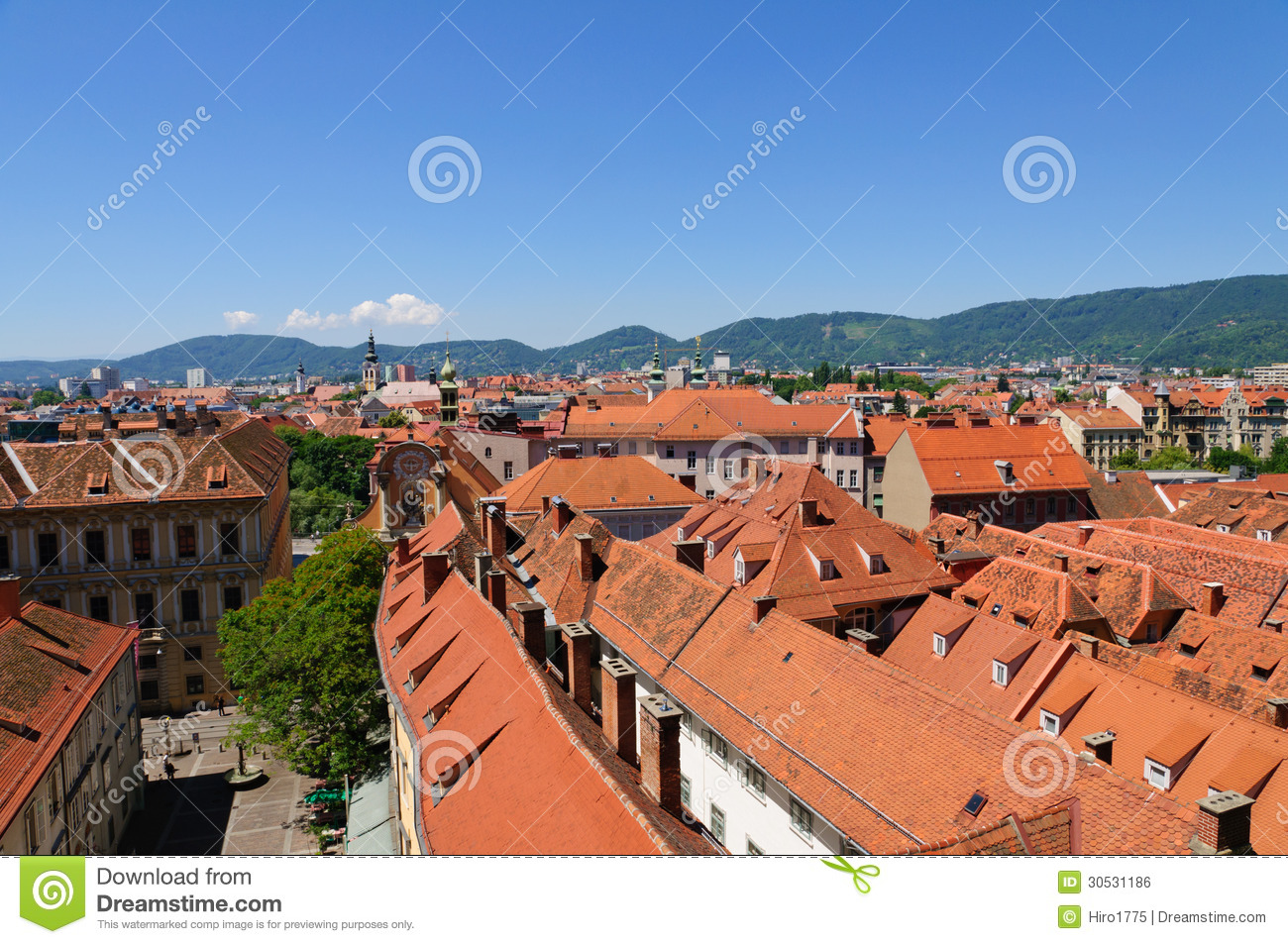 the historic center of graz in austria royalty free stock image image 30531186. Black Bedroom Furniture Sets. Home Design Ideas
