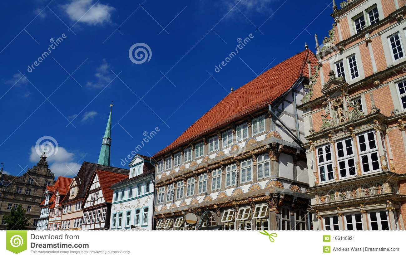 Historic Center of Hameln: colorful painted half-timbered and Renaissance style buildings.