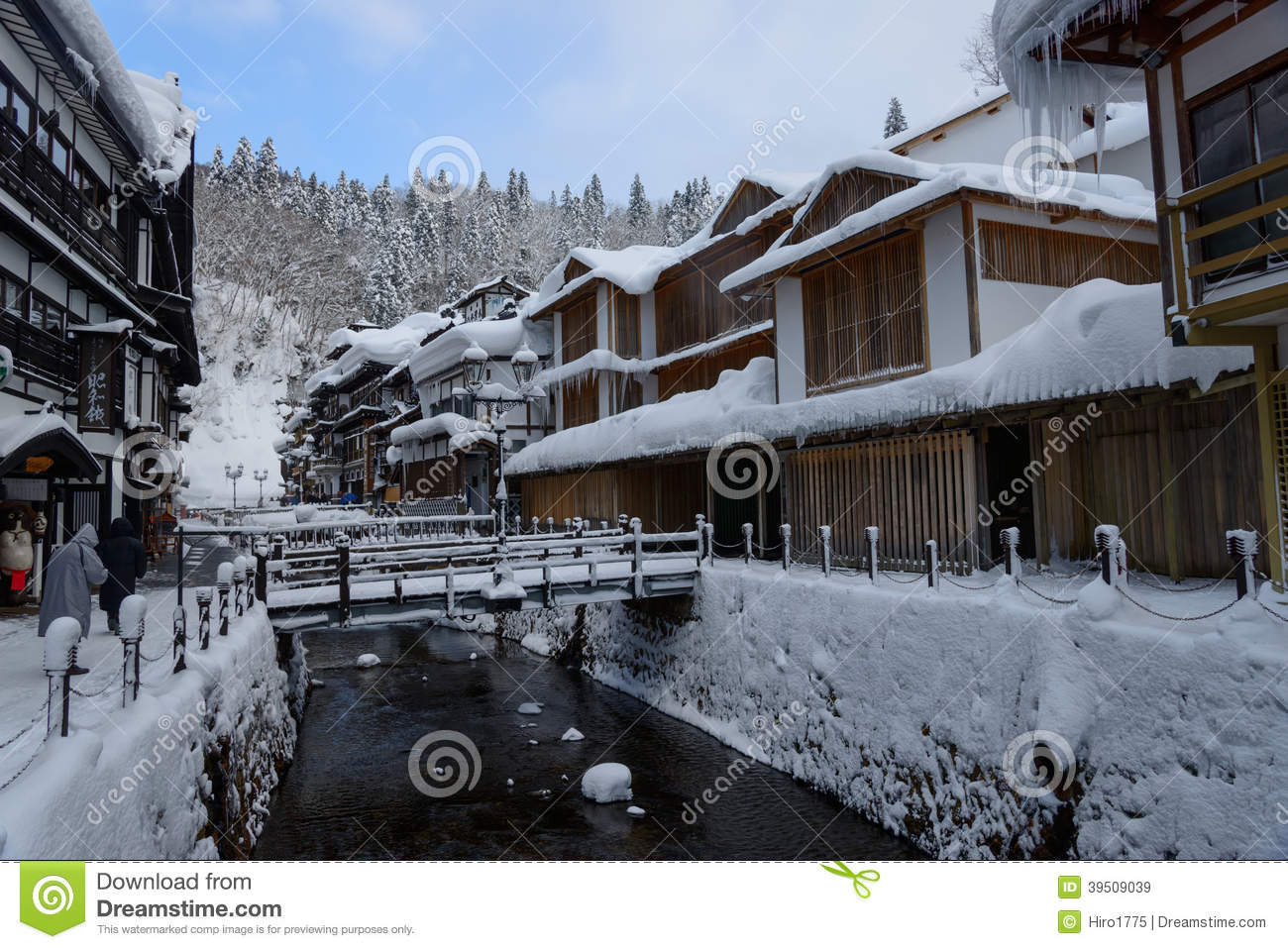 Historic District of Ginzan-onsen in winter