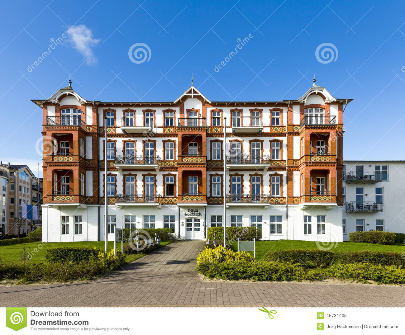 Historic Haus Seeblick At The Promenade Of Ahlbeck Editorial Image