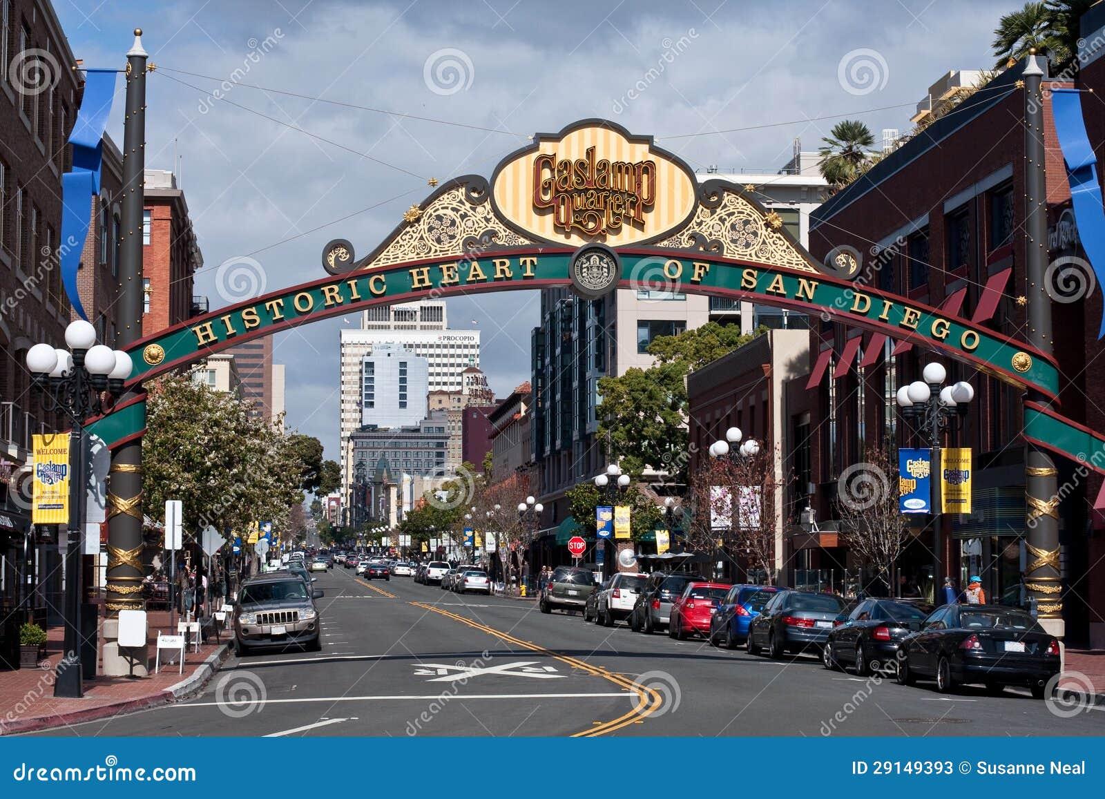 Beautiful sign in downtown San Diego, California, denoting the Gaslamp ...