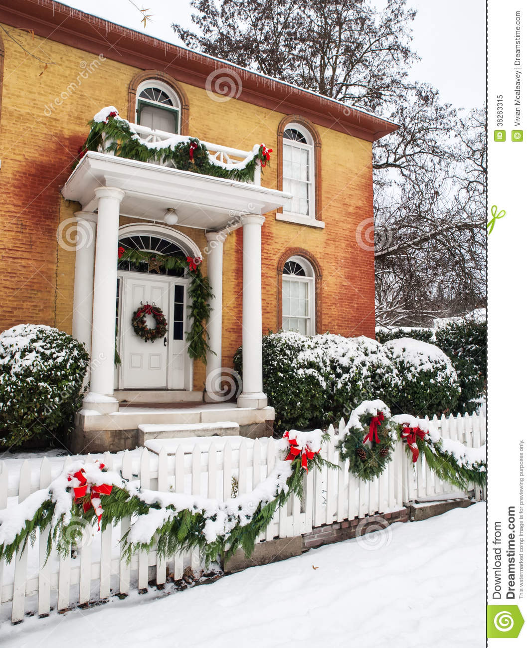 Historic home with christmas decorations stock image for Fresh home
