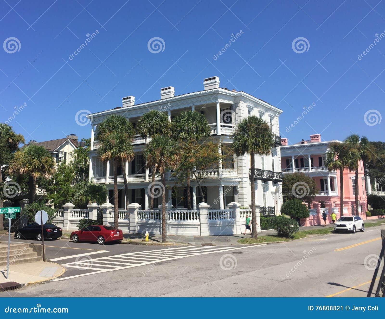 Charleston Sc Homes: Historic Homes On East Bay St, Charleston, SC. Editorial
