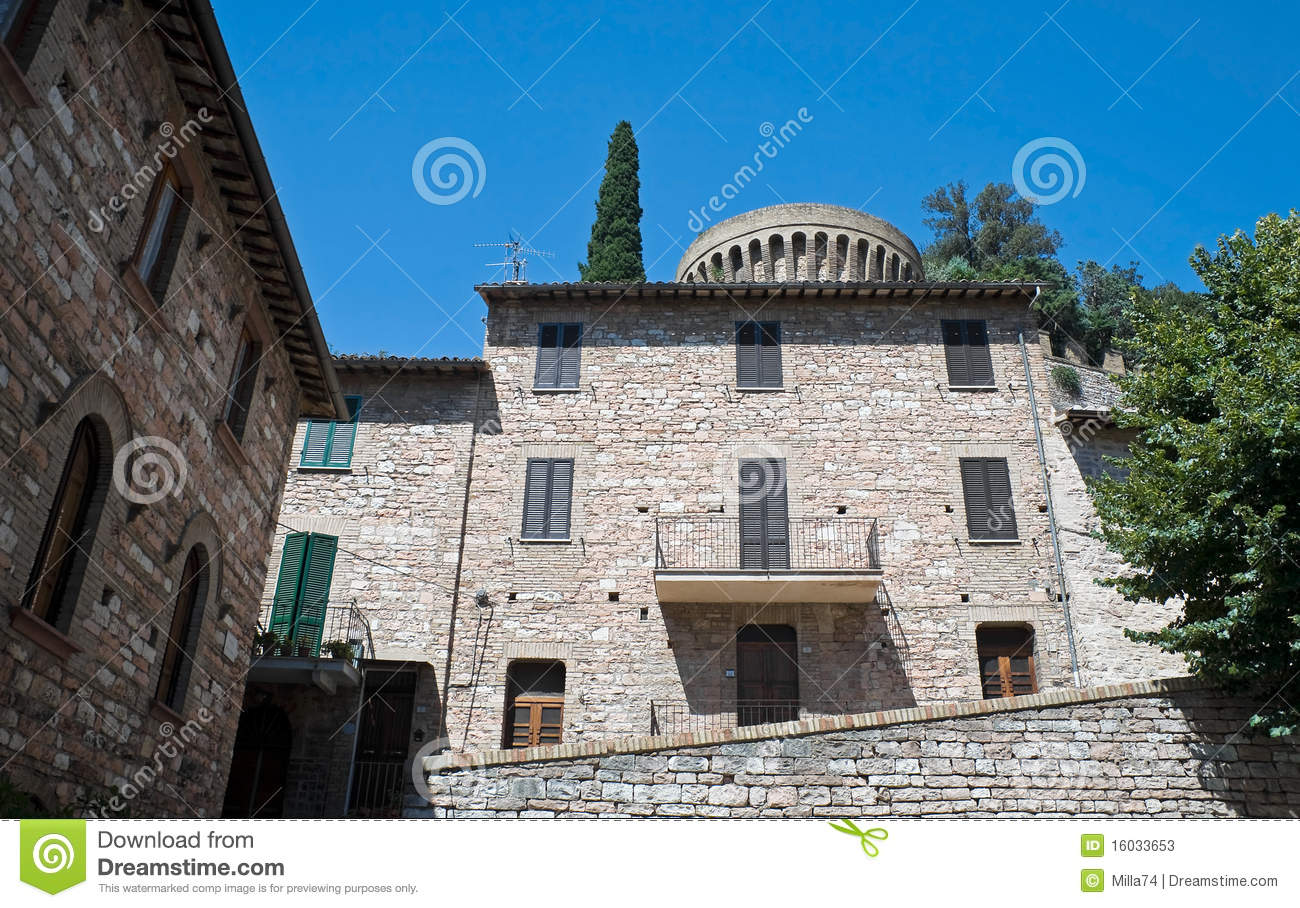 Historic house spello umbria stock image image 16033653 for Spell balcony