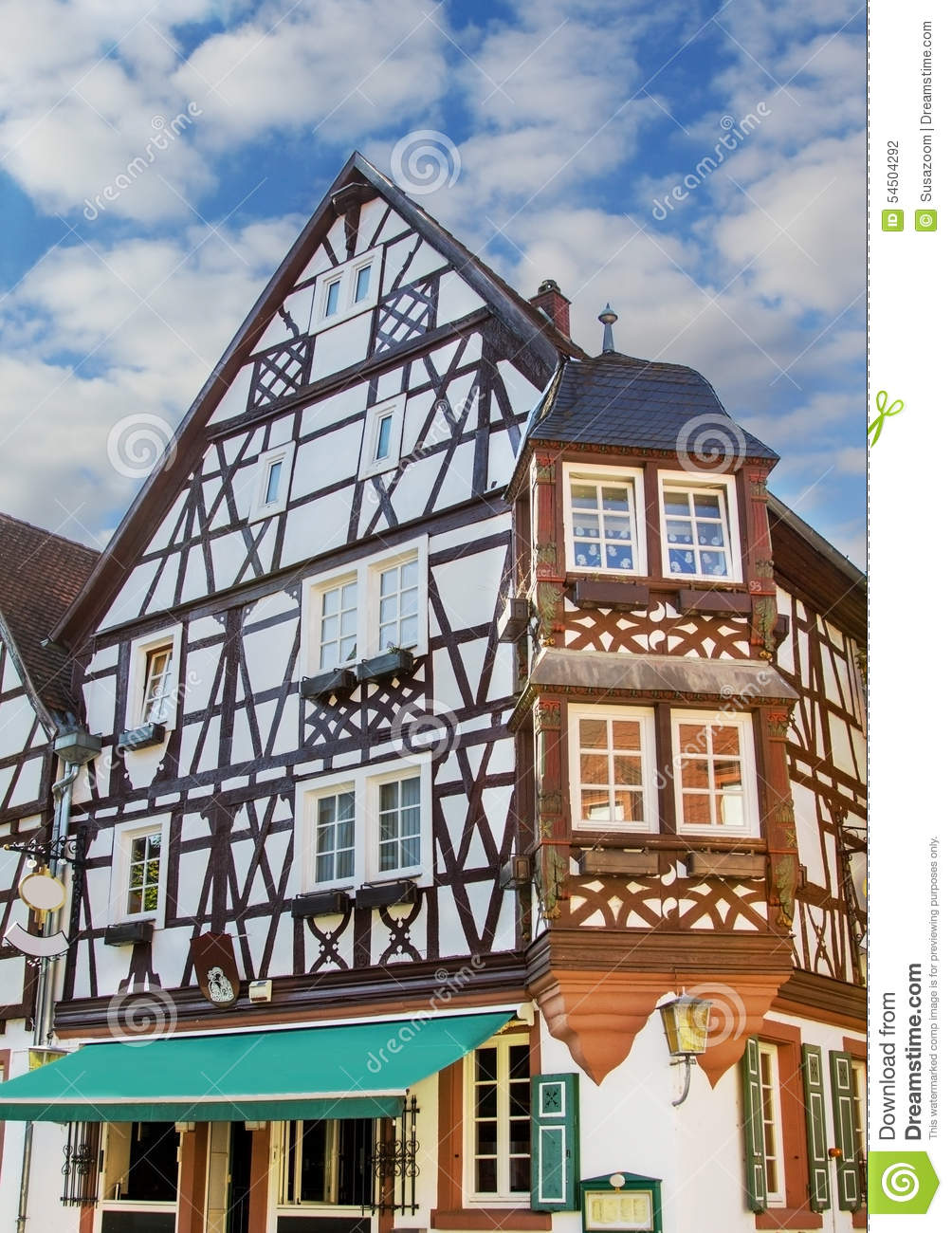 Historic house with timber frame construction stock photo for Timber frame house construction