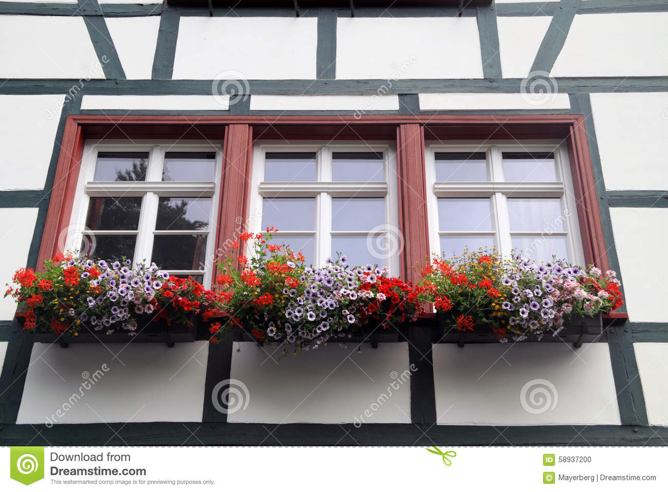 Historic Houses With Flower Boxes Stock Photo Image