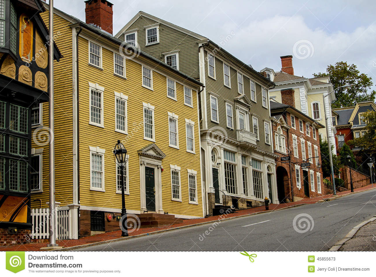 historic houses on thomas street providence ri editorial stock photo image 45855673. Black Bedroom Furniture Sets. Home Design Ideas