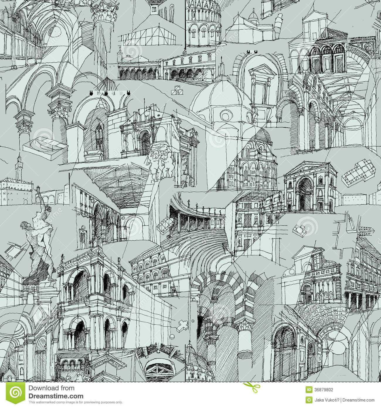 historic italian architecture collage seamless pattern sketch drawings monuments illustration eps mode 36879802