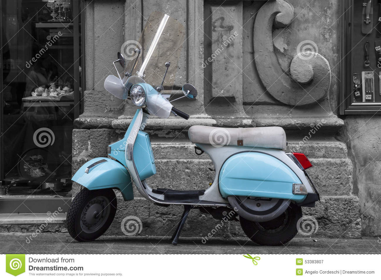 Historic Italian colored motorcycle scooter. Black and white