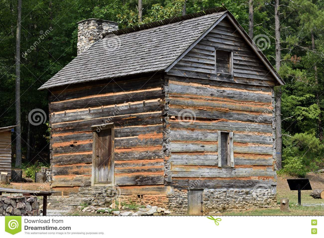 1792 historic log cabin, Georgia, USA