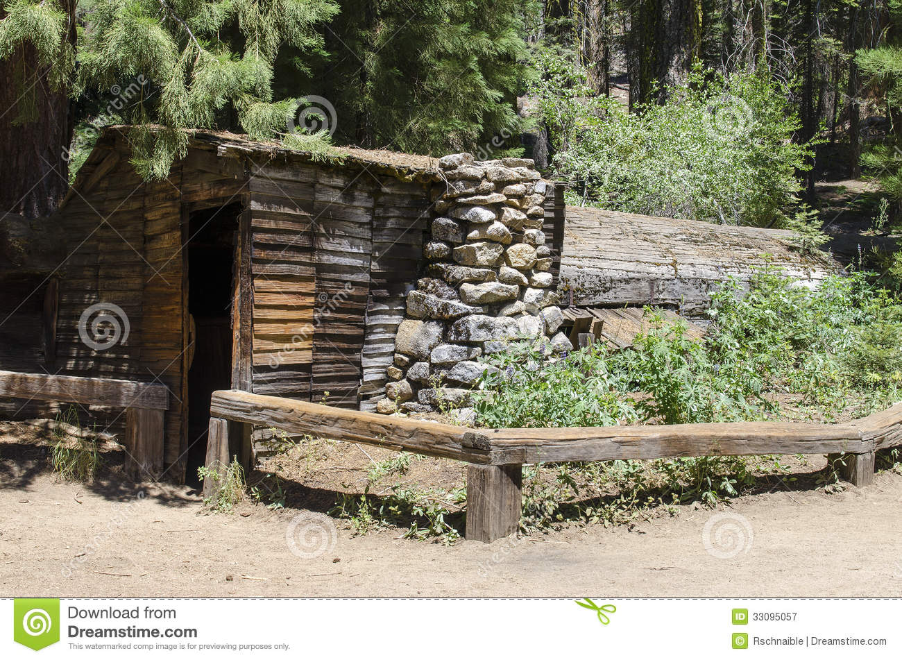 historic log cabin made of fallen tree stock image image