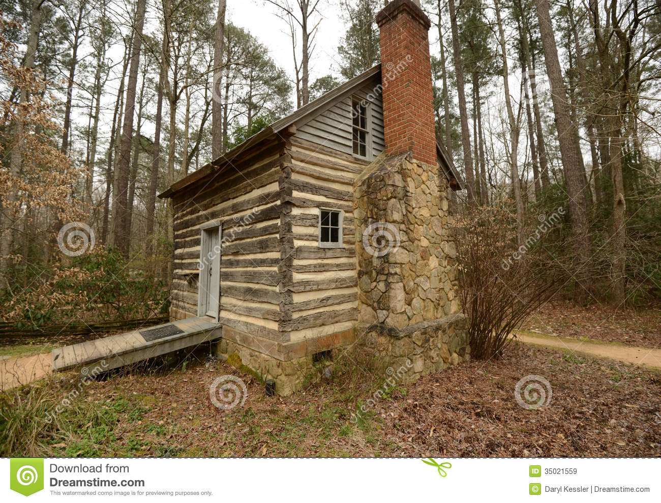 Historic log cabin in north carolina stock image image for Stone log cabin
