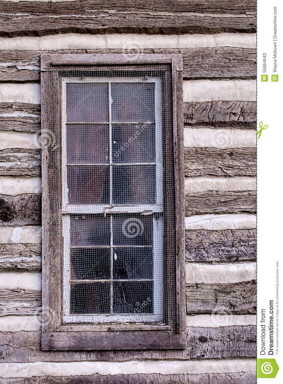 Historic Log Cabin Window Stock Photo Image 55664643
