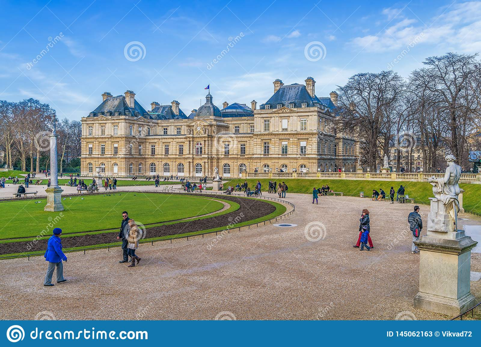 Historic Luxembourg Palace and Garden in winter.Paris.France