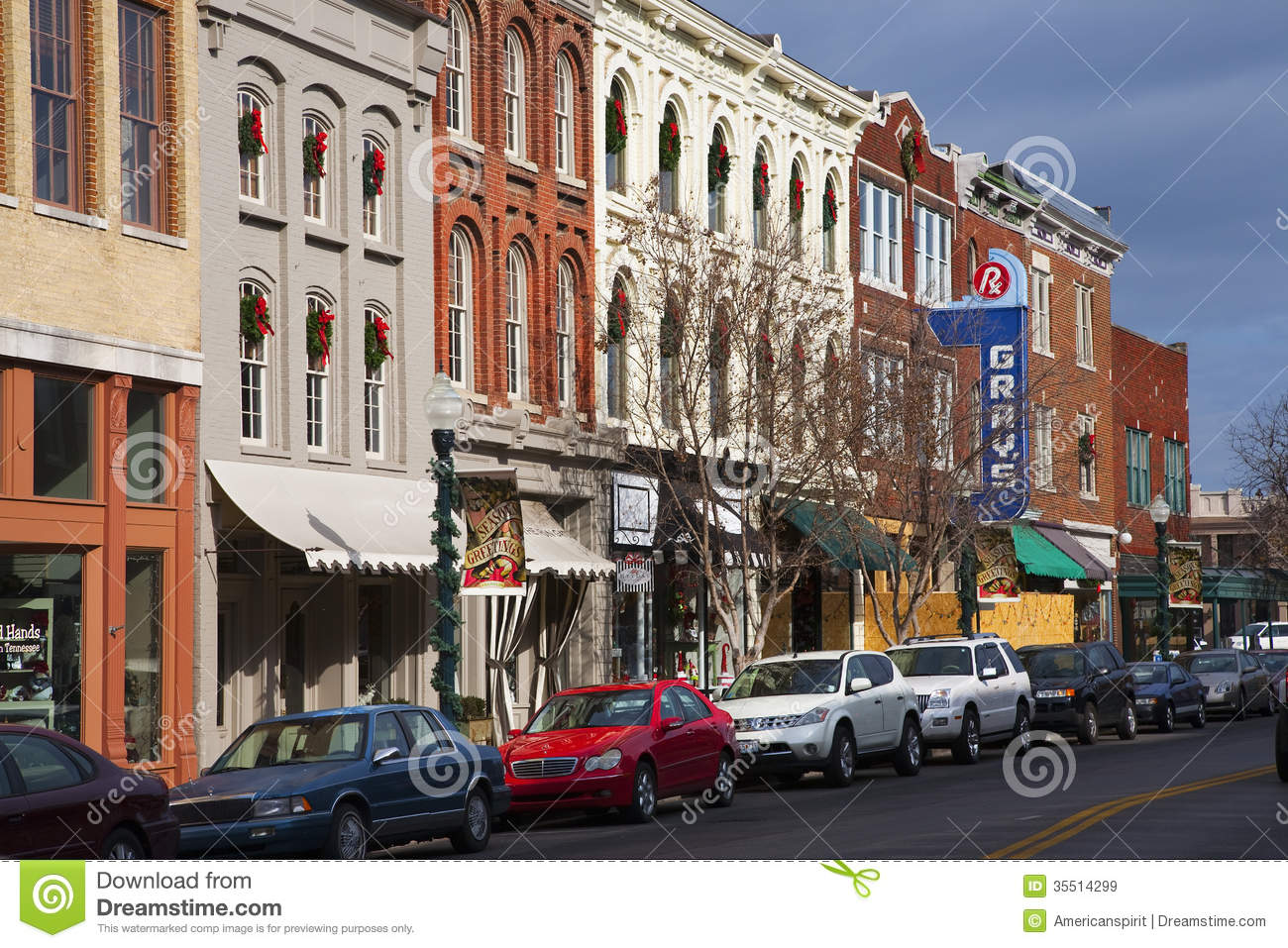 Downtown Franklin Tn >> Historic Main Street editorial stock image. Image of city - 35514299