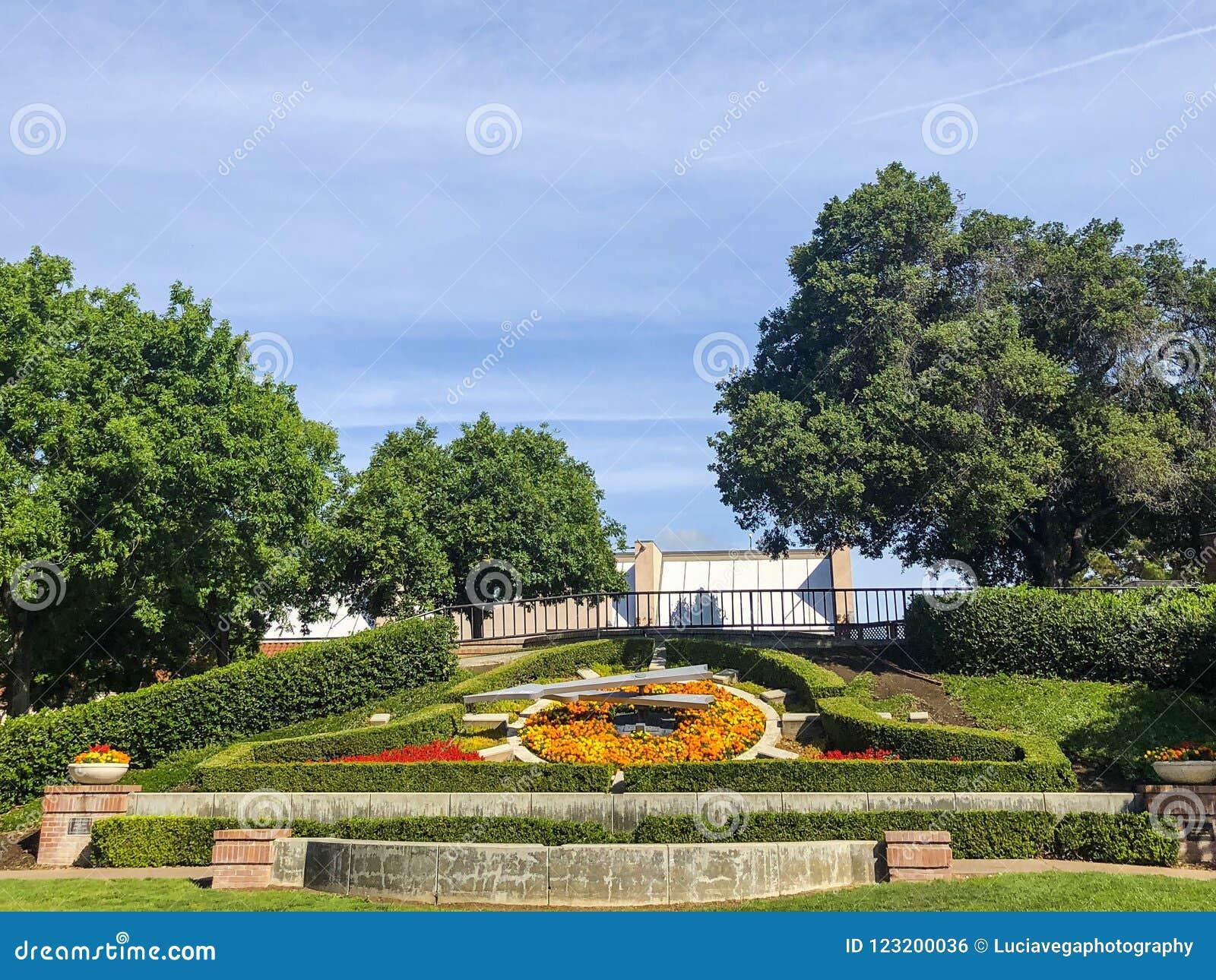 Historic Modesto Flower Clock Garden Stock Photo Image Of