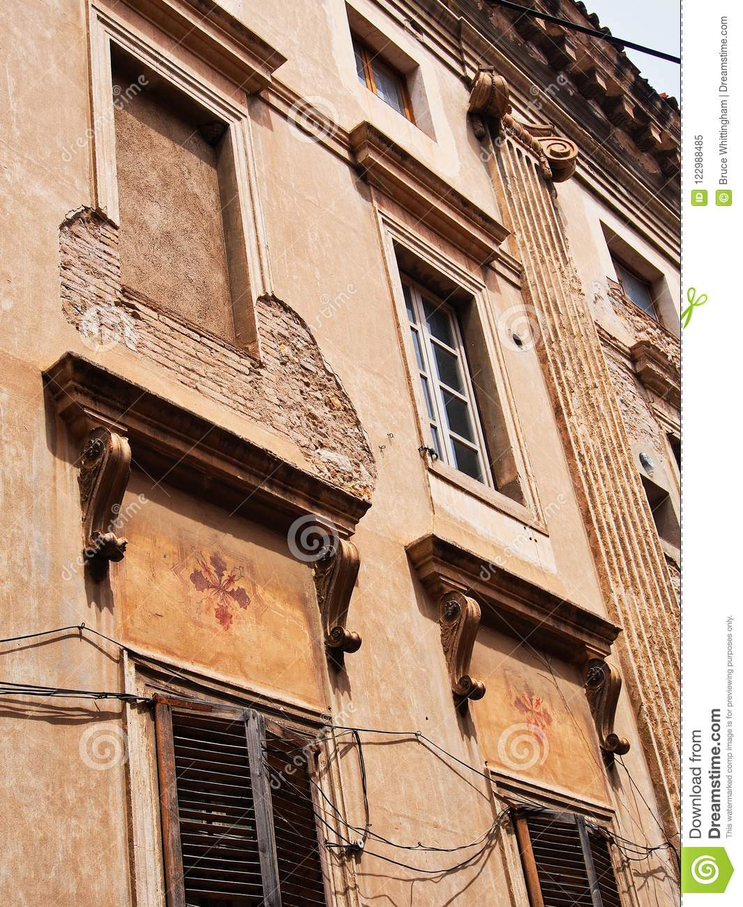 Old Brick Apartment Building: Historic Brick And Stucco Apartment Building, Figueres