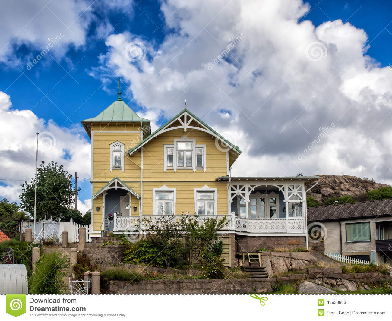 Historic Old Wooden House In Lysekil Sweden Stock Photo