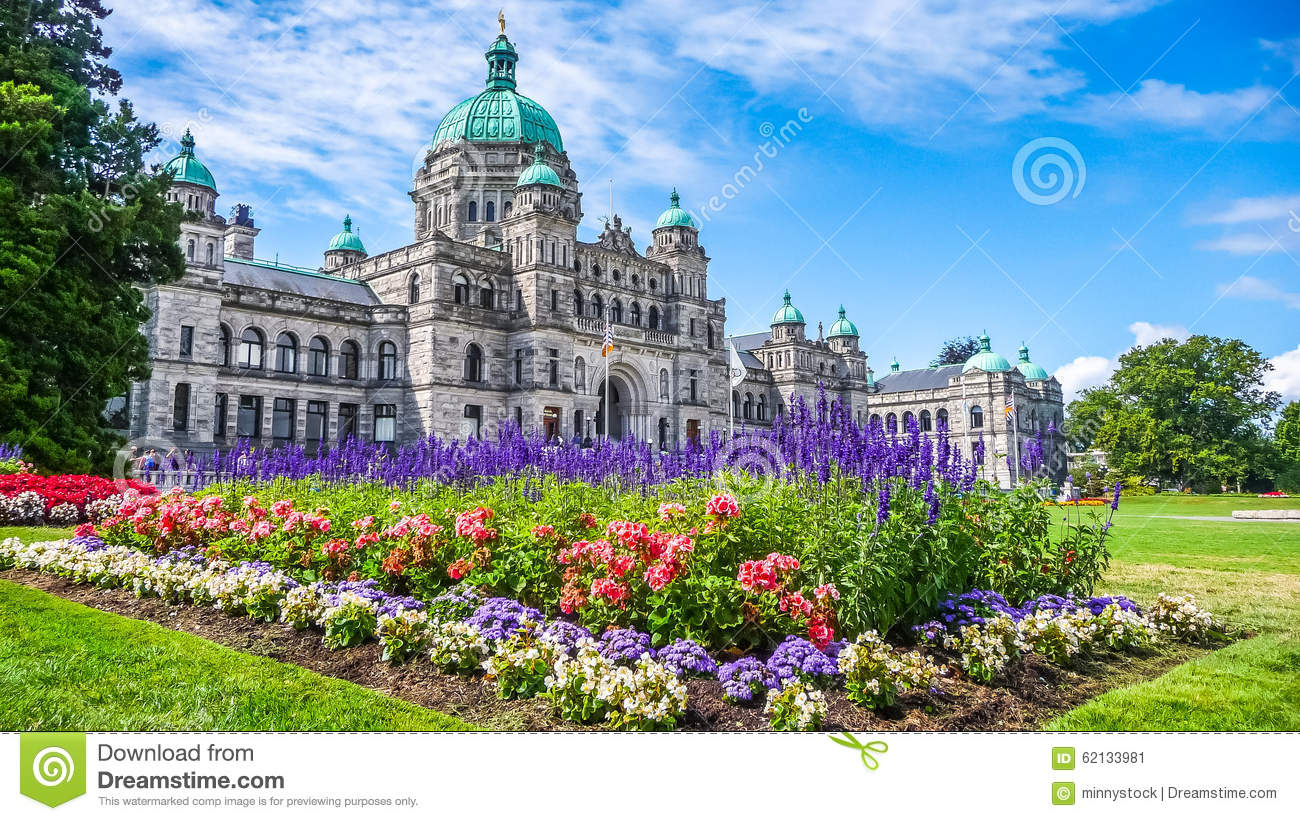 Download Historic Parliament Building In Victoria With Colorful Flowers, Vancouver Island, British Columbia, Canada Stock Image - Image of historical, island: 62133981