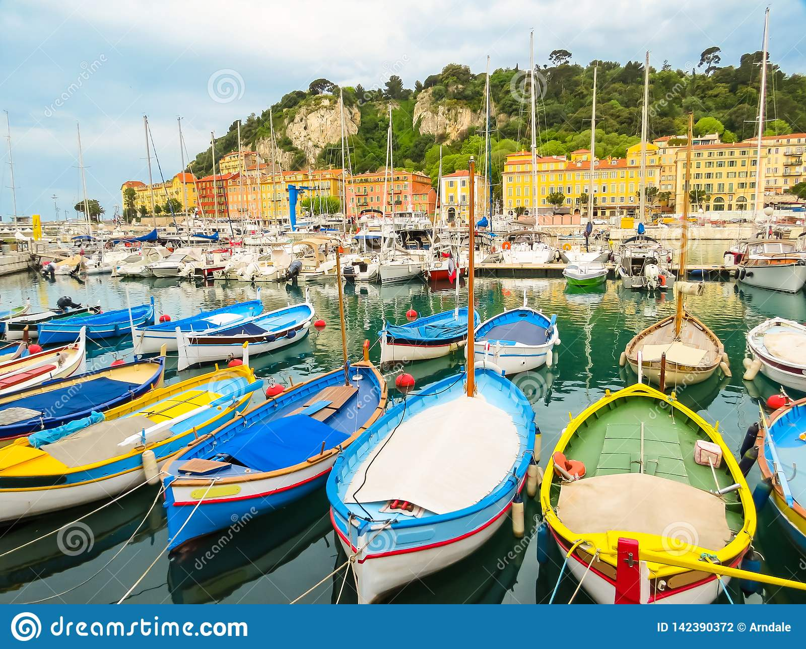Historic port area of Nice. Fishing boats in the Port of Nice, France