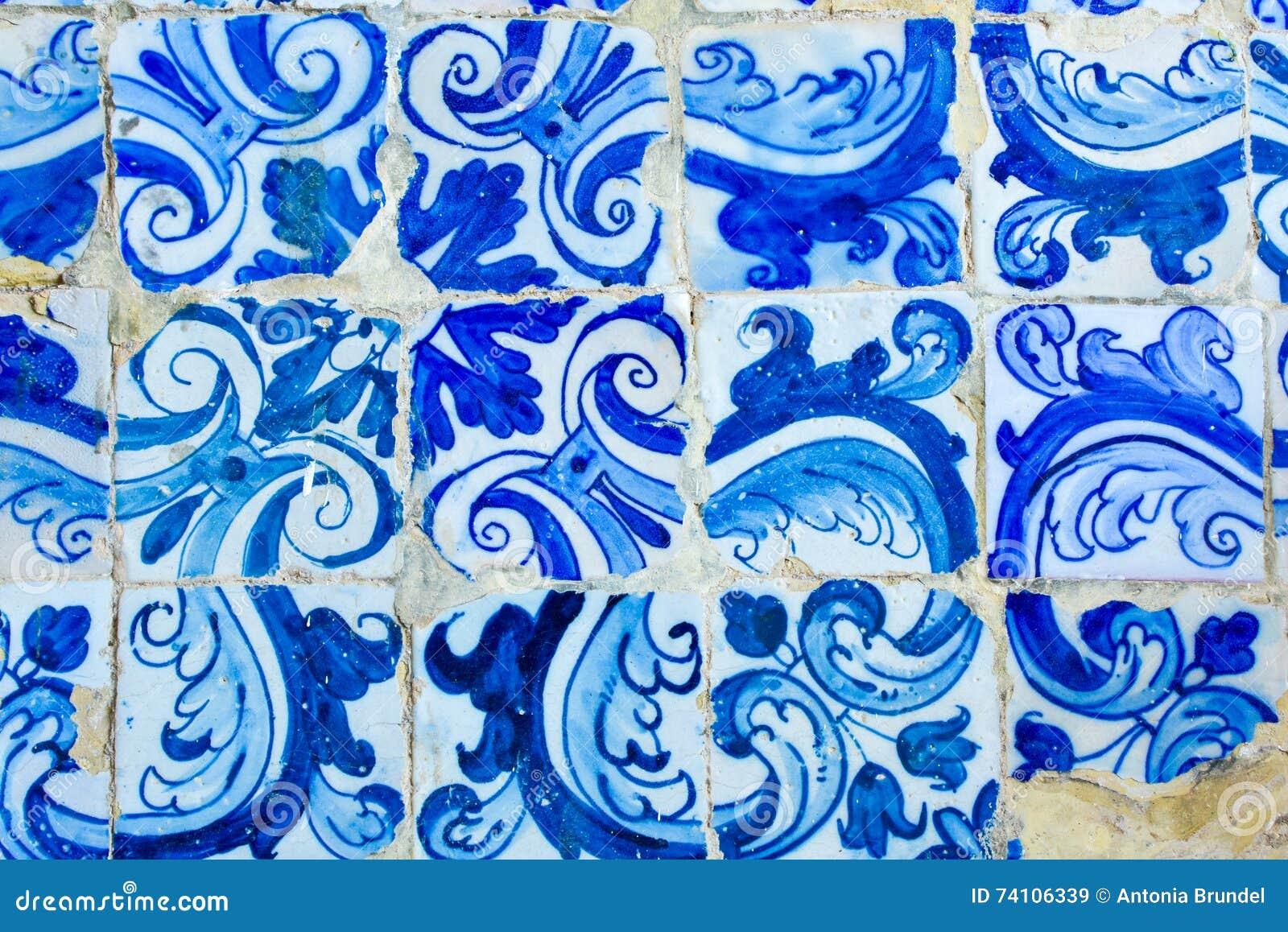 Historic Portuguese Blue And White Mosaic Tiles Decoration Stock ...