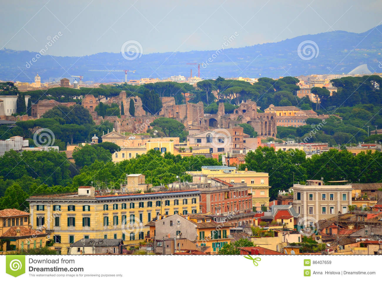 Historic Rome scenic view stock image. Image of hill - 86407659