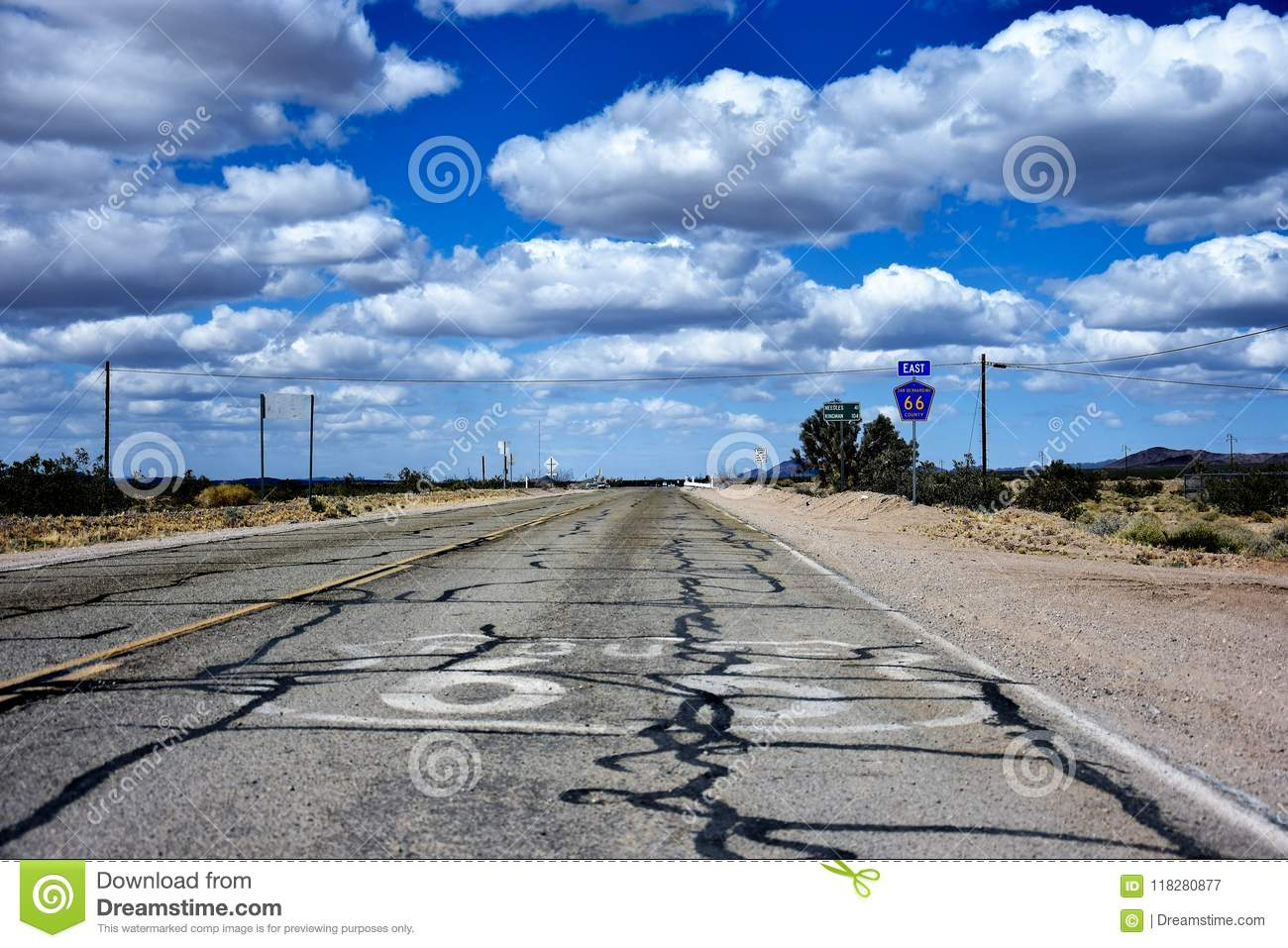 Historic Route 66 highway in Nevada